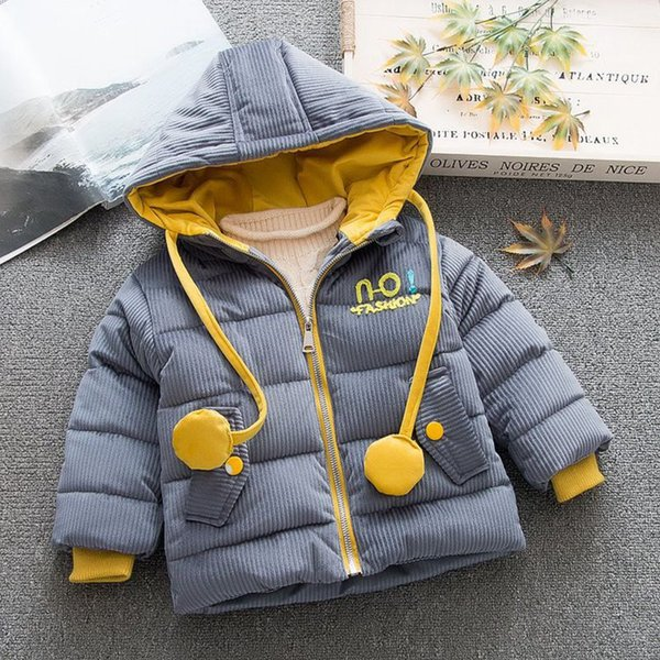 Children Warm Winter Baby Girls Infants Letter Corduroy Hooded Velvet Thicken Jacket Cardigan Parkas Coat Outwear Casaco S7962
