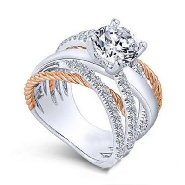 Diamond Ring Contrast Color Cross Ring Crystal Engagement Wedding Rings Wrap Rings Women Designer Jewelry Will and Sandy Deopship 080420
