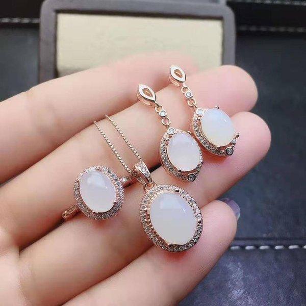Boutique Hotan jade blanc S925 boucles d'oreilles en argent sterling anneaux pendentifs Collier Set luxueux et élégant
