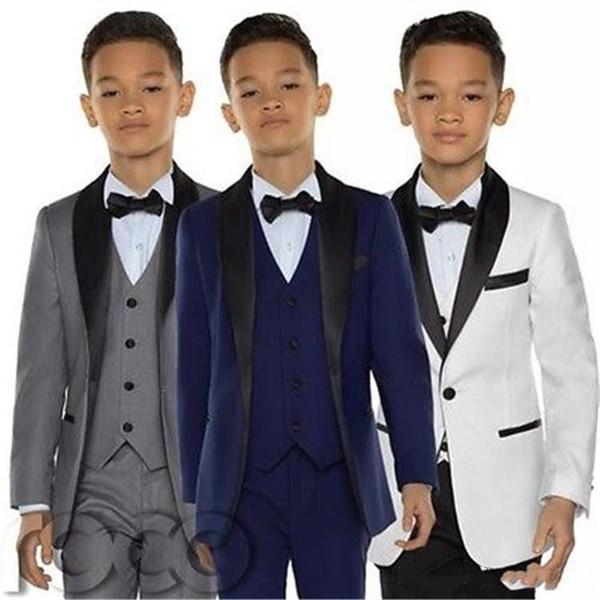 Erkek Smokin Erkek Yemeği Takım Elbise Üç Parçalı Erkek Siyah Şal Yaka Resmi Takım Elbise Smokin Çocuklar için Smokin BF001
