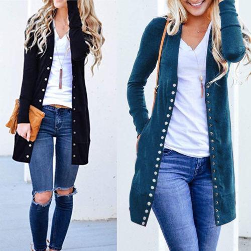 Long Autumn Jacket Coat Women Ladies Long Sleeve Slim Knitted Cardigan Outwear drop shipping good quality