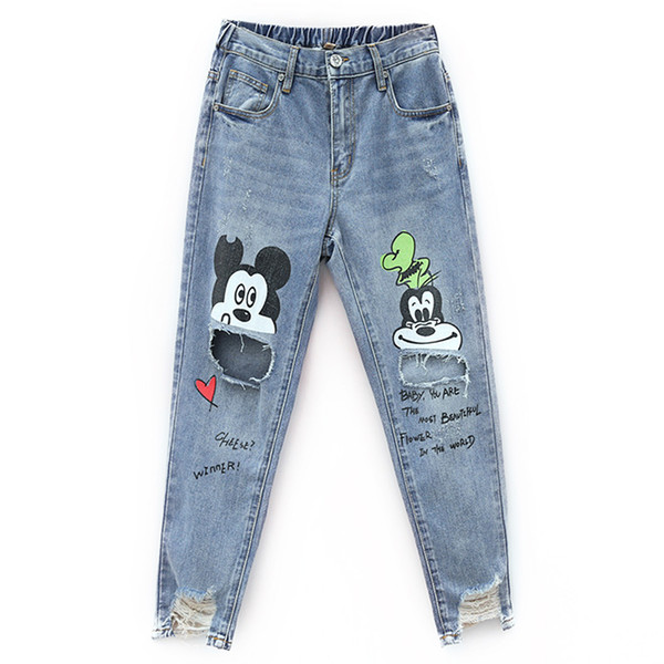 New Cotton Jeans Women 2019 Vintage Irregular Jeans Loose Elastic Waist Harajuku Cartoon Printed Hole Female Pants #8081
