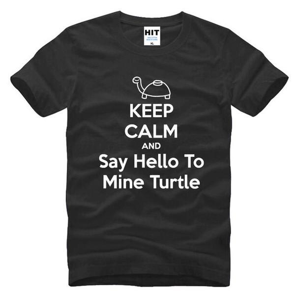 Сохраняйте спокойствие и скажите Hello To Mine черепаха с коротким рукавом мужская футболка Размер S-3XL harajuku Summer 2018 футболка