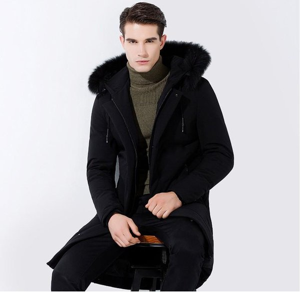 the new fashion casual style black long and wide hooded fox fur collar men's down jacket, welcome to the sky2012 shop to buy