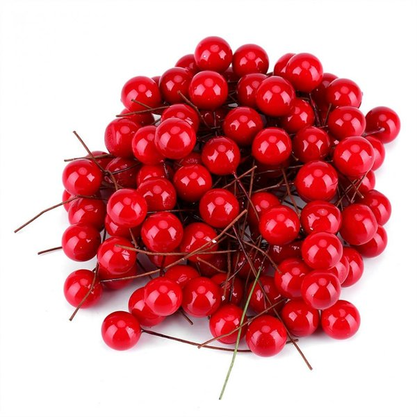 100pcs/lot Artificial Red Holly Berry Christmas Tree DIY Home Garden Decorations Xmas Tree Ornament Christmas Paryt Supplies