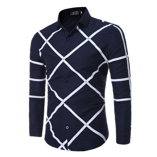 Pretend Male Paragraph Long Sleeves Geometry Pattern Long Sleeves Shirt Irregular Pattern Bottoming Shirts