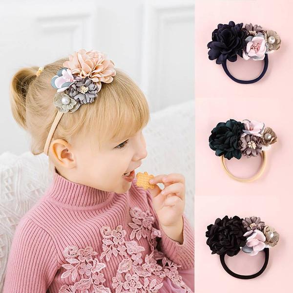1PC Crystal Baby Headband 13 Colors Flower Pearl Big Fake Flower Nylon Hair Bands For Kids Adjustable Elastic Lovely