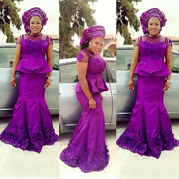 Abendkleider Фиолетовый вечернее платье аппликация Длинные вечернее платье Sheer декольте Нигерийские Вечерние платья халата де abiye вечер