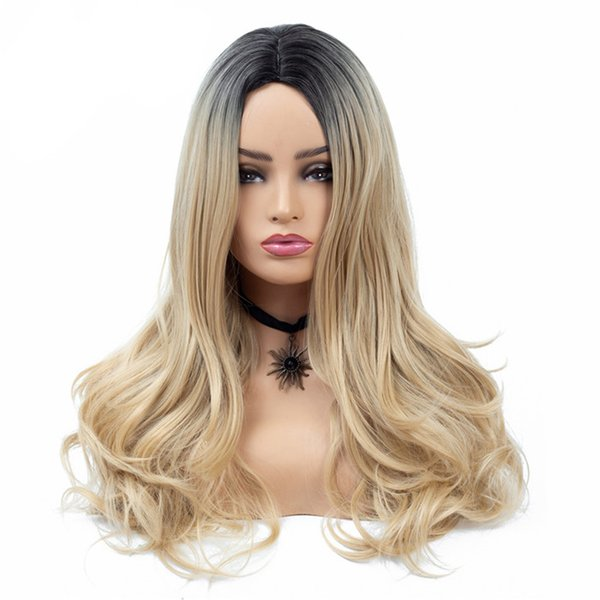 New & Hot 26 inch Long Wavy Ombre Blonde Color Synthetic Wigs for Women Fashion Wig Hair Style