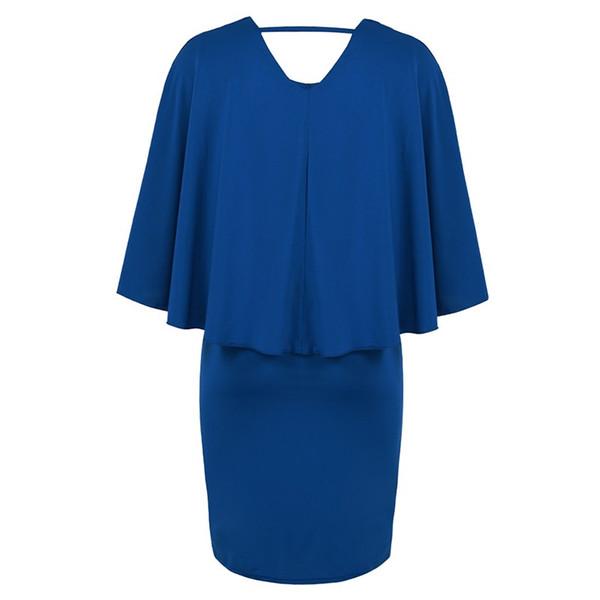Fashion Women Plus Size Cape Dress Draped Cloak Solid Bodycon Party Pencil Dress G11688W-3XL