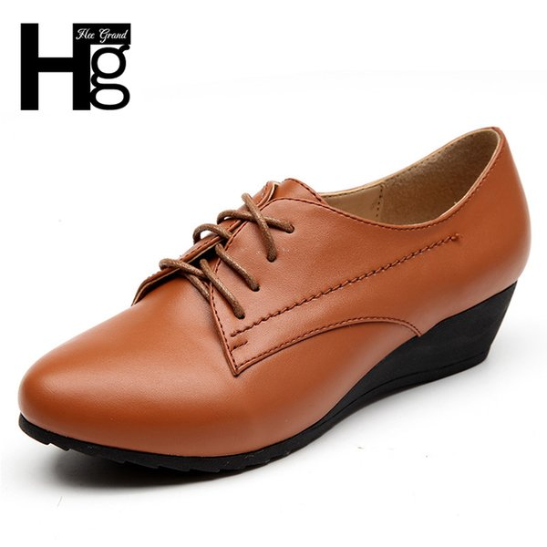 Designer Dress Shoes HEE GRAND 2019 Woman Leather Brogue Thick Bottom Fashion Platform High Quality Brand Black Woman XWD5928