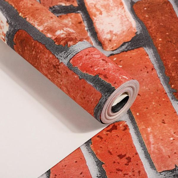 Rustic Vintage 3D Faux Brick Wallpaper Roll Vinyl PVC Retro Industrial Loft Wall Paper Red Black Grey Yellow Washable For Walls