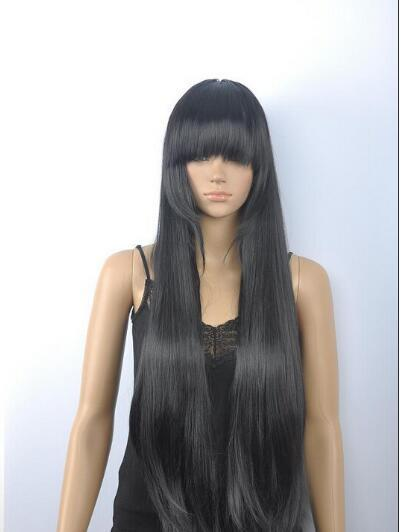 FREE SHIPPING + New Cosplay Cos Black long Straight wig For Women