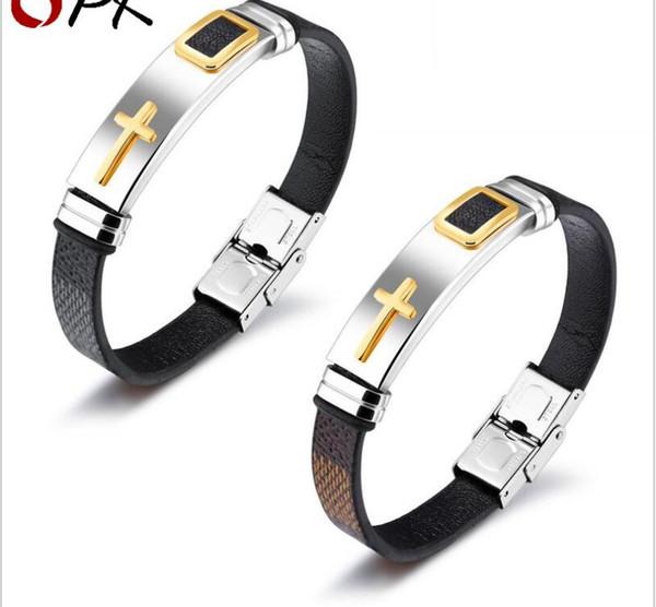 Persönlichkeit kreative klassische Leder Titan Stahl Herren Leder Armband Armband Joker