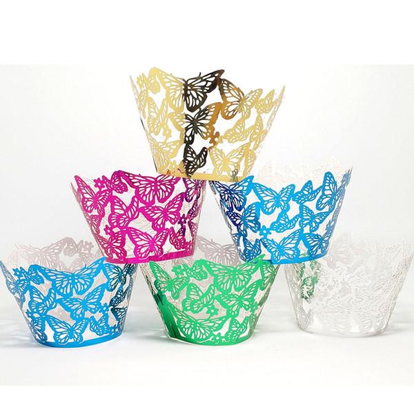 50 PCS / Papillon Ajouré Dentelle Laser Coupe Gâteau D'emballage Pads Biscuits Au Four Famille Mariage De Fête D'anniversaire Décoration