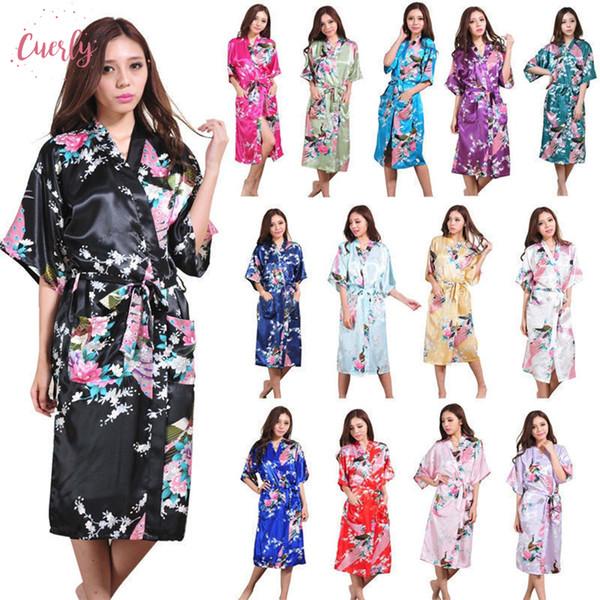 Satin de soie habiller mariée demoiselle d'honneur Robe florale longue Kimono Nuit Robe Peignoir mode robe de mariage pour les femmes
