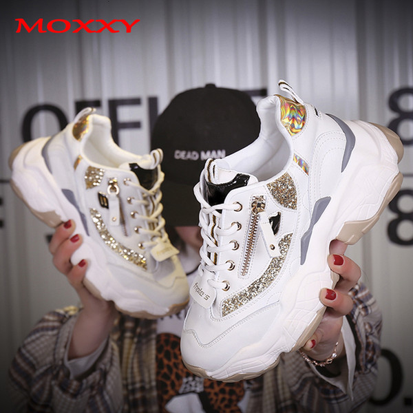2019 Autumn Ladies Glitter Chunky Sneakers Platform Casual Shoes Dames Dad Sneakers Women Shoes Trainers Basket Chaussure Femme CJ191128 Munro Shoes