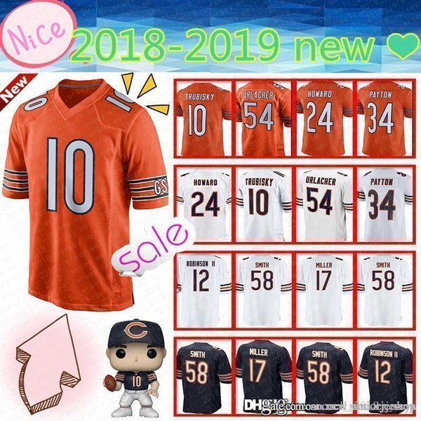 more photos 719d2 bc532 2019 New CHICAGO BEARS Mens 10 Mitchell Trubisky Jersey 54 Brian Urlacher  34 Walter Payton 58 Roquan Smith 17 Nthony Miller 24 Howard Jerseys From ...