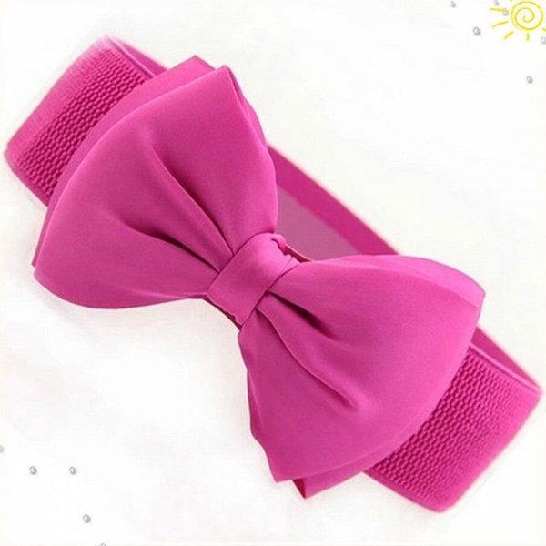1PC Fashion Women Lady Bowknot Elastic Bow Wide Stretch Buckle Waistband Waist Belt Dress Accessories