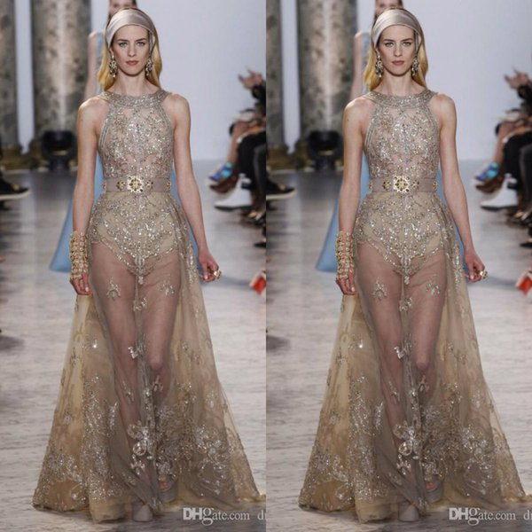 Elie Saab Dresses Evening Wear Beaded Halter Neck Sequined Prom Gowns Tulle Rhinestones See Through Formal Party Dress