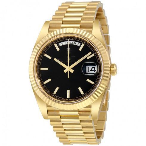 9 типов 41мм черный циферблат Автоматический скользящий гладкий секундная стрелка 18K желтое золото часы устойчивый к царапинам сапфировое стекло оптом