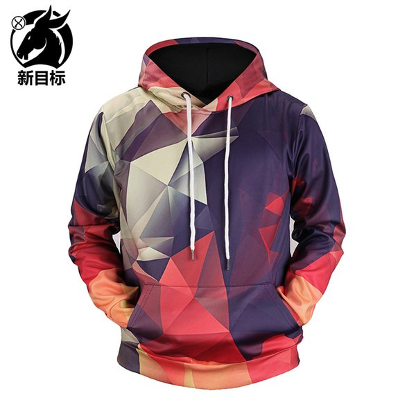 2019 Spring Decoration New Digital Color Geometric Plaid Print Hooded 3d Hoodie, Original Lovers' Clothing, Popular Logo.free Shipping