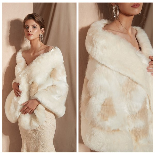 PJ18108 Winter Soft Touch White Shawl Scarf Elegant Free Size Women Fur Stole Neck Long Warmer Scarf Shawl for Love Gift