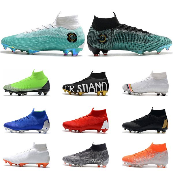 Nike Mercurial Superfly VI 360 chaussures de football FG noir or blanc lune bleu argent Ronaldo Neymar Athletic Hommes Garçons Football Bottes Crampons taille 39-45