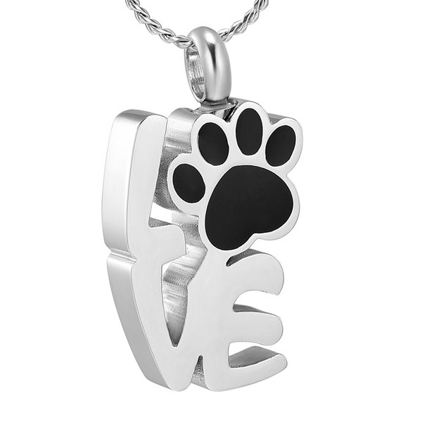 j888 love shape cremation jewelry for ashes pet paw print memorial jewelry - ashes urn for dog/cat keepsake necklalace