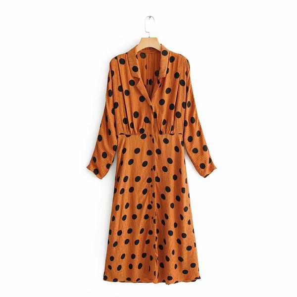 2019 new women vintage polka dots print casual slim vestidos long dress female turn down collar chic streetwear dresses ds1990