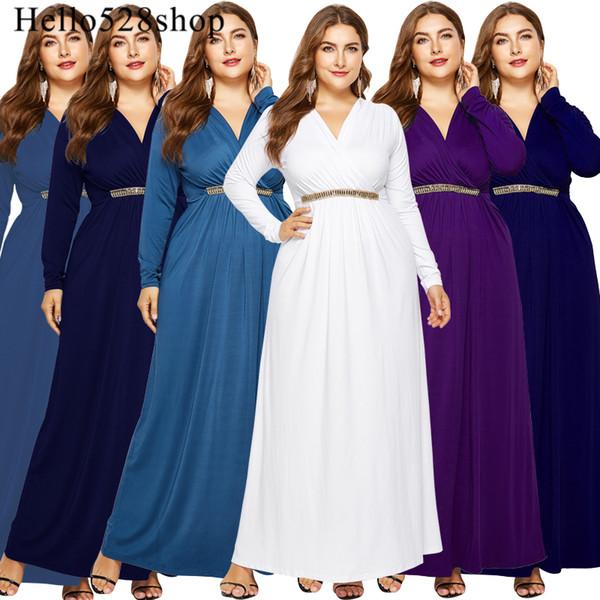 Hello528shop Vestidos de mujer Casual Manga larga Costura con cuello en V Cintura delgada Vestido suelto largo maxi más el tamaño