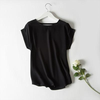 Mulheres Camisa de Seda Real T Curto Manga Morcego Chiffon Sólida Camisa Solta 100% de Seda Básica Básica Top Plus Size Verão Assentamento