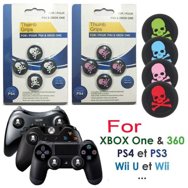 Silicone Skull Head Analog Controller Thumbstick Grip Thumb Grips Joystick Caps For PS4 PS3 Xbox One DHL FEDEX EMS FREE SHIPPING