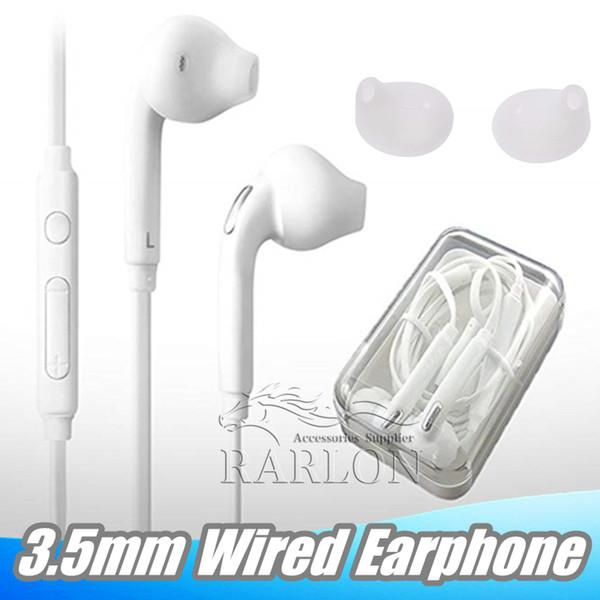 3.5 mm en la oreja los auriculares con cable auriculares auriculares auriculares con control de volumen de micrófono para Samsung Galaxy S6 S8 S9 con paquete al por menor