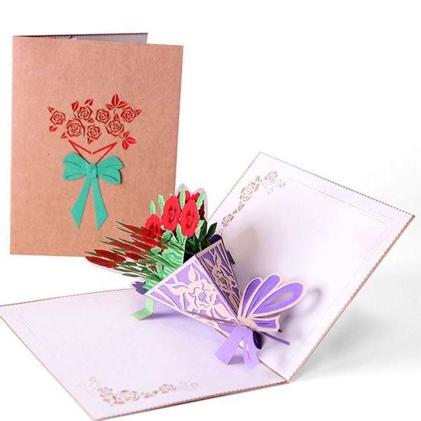 3D carta scoperta Roses Bouquet d'artigianato Biglietti d'auguri fai da te Papercraft Card per San Valentino compleanno anniversario di nozze