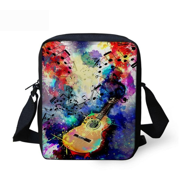 THIKIN Guitar Printed Mini Messenger Bag For Children Girls Boy Cartoon Piano Note Small Cross Body Bag With Zipper Women Handbg