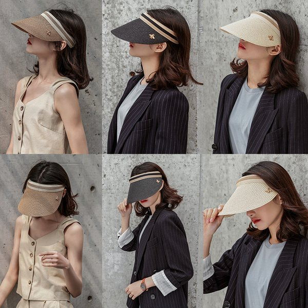 top popular wholesale Summer Straw Visor Cap Adult Bee Sun Cap Beach Cap Hat for men womenFamily Look 2020