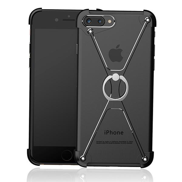 Handy case für iphone 7 6 6 s 8 x plus form ultradünne aluminium metall stoßfest schützen rahmen abdeckung ring halter smsnxy t190710