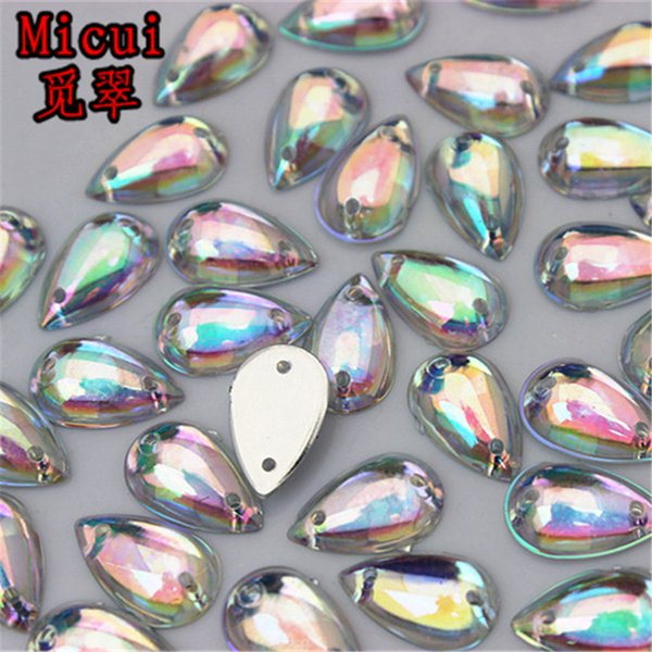 Micui 200PCS 8*13mm Acrylic Rhinestones Crystal Flatback Fancy Drop Gems Stones For Clothes Dress Crafts Sew On ZZ10