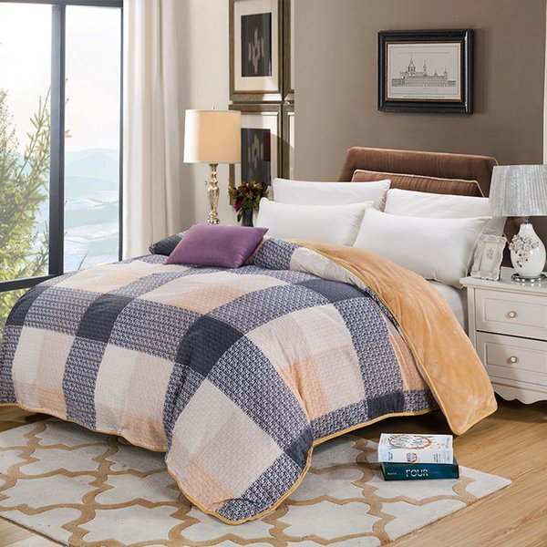 AB side bedding duvet cover Flannel Fleece + 100% cotton single Comforter cover 1pc printed quilt winter bedcover