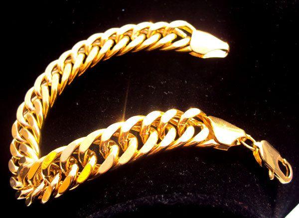 браслет-цепочка тяжелые 44 г мужские 24 к цельное золото GF отделка толстые Майами кубинский браслет-цепочка безусловная пожизненная гарантия замены