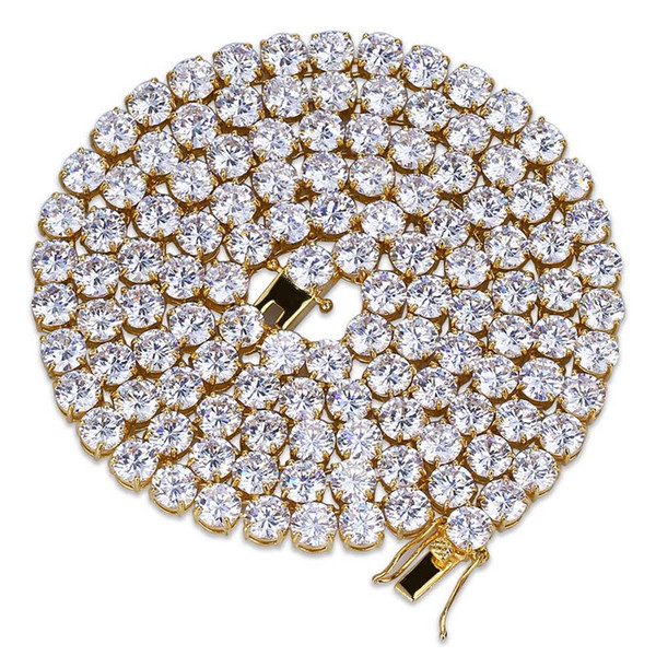 """Hip Hop Gold Silver Necklace Cubic Zirconia Micro Paved All Iced Out Tennis Chain Bling Lab CZ Stones Crystal Necklace Accessories 18"""",24"""""""