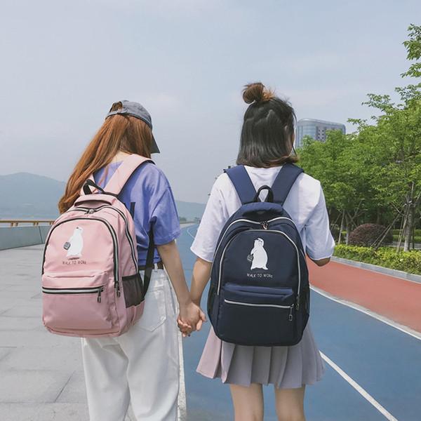 Kawaii Bear Рюкзаки Женщины Мультфильм Печать Письмо Bookbag Женщины Путешествия Рюкзак Harajuku Большой Емкости Школьный Рюкзак Девушки