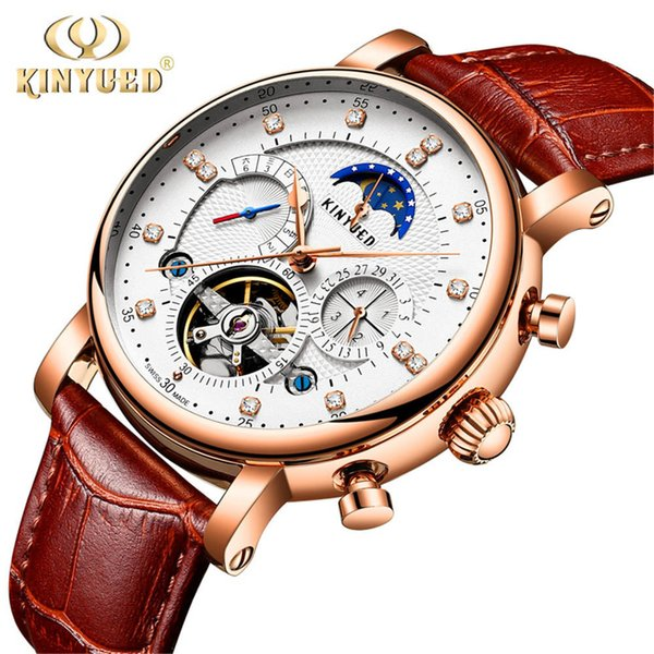 Kinyued 2019 New Design Genuine Leather Diamond Display Tourbillion Automatic Mechanical Watch Mens Watches Top Brand Luxury C19042001