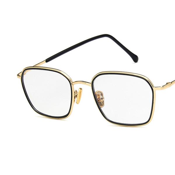 2019 tendenza semplice retrò specchio quadrato piatto moda occhiali in metallo telaio studente d'arte può essere dotato di occhiali miopia telaio.