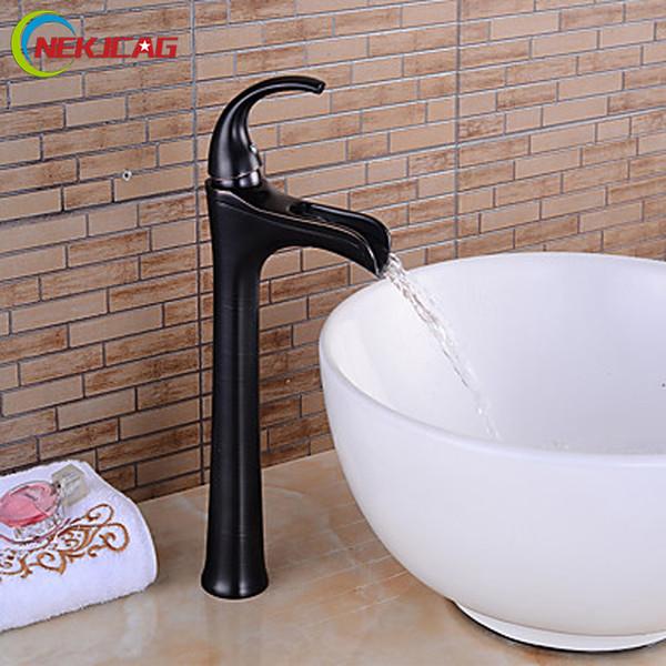 Deck Mounted Centerset Waterfall Bathroom Sink Faucet Single Lever Ceramic Valve Countertop Basin Mixer Taps