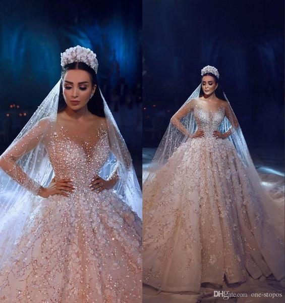 Nouveau 2019 luxe robe de bal robe de mariée en dentelle Princesse Arabie arabe appliques Dubaï robe de mariée Plus Size Robe de Noiva