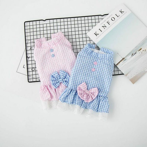 Breathable Plaid Dog Dress Cute Sweet Pet Puppy Apparel Clothes Short Skirt Polyester Unisex Dog Apparel wholesale price