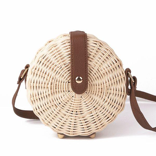 2018 Women Straw Bag Bohemian Bali Rattan Beach Handbag Small Circle Lady Vintage Crossbody Handmade Kintted Shoulder Bags J190704