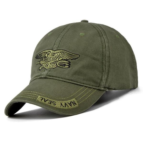 Nuovi uomini Navy Seal Cap Cappellini snapback verde militare di alta qualità Cappello da pesca Camo Berretti da baseball Osso regolabile